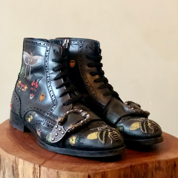Gucci Embroidered Leather Insect Boot